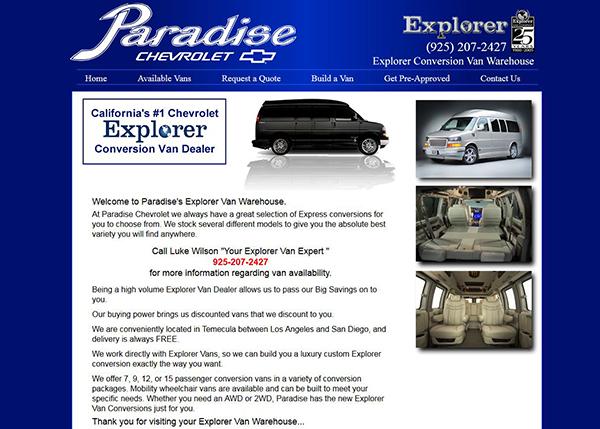 paradise chevrolet explorer vans